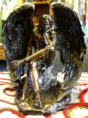 LUCIFER FALLEN ANGEL STATUE Figure Ornament BRONZED HORROR OCCULT Wiccan PAGAN