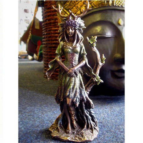 LADY OF THE FOREST GODDESS God ORNAMENT STATUE Figure PAGAN Wiccan Occult