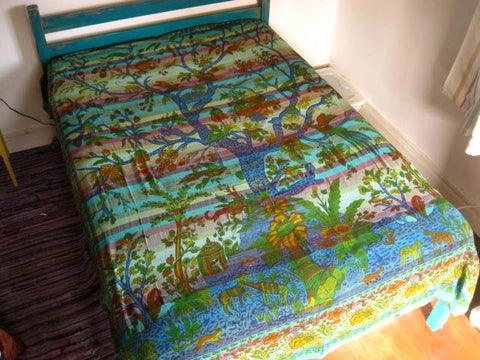 INDIAN COTTON BEDSPREAD Green TREE OF LIFE Tapestry WALL HANGING Throw DOUBLE