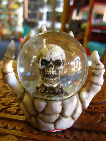 SKULL SNOW GLOBE ORNAMENT Celtic PAGAN OCCULT Skeleton Horror GOTHIC ALTAR