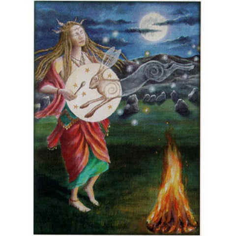 PAGAN WICCAN GREETING CARD Calling in Hare WENDY ANDREW Birthday CELTIC GODDESS