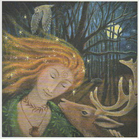 PAGAN WICCAN GREETING CARD Elen Encounter WENDY ANDREW Stag GODDESS