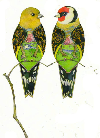 PAGAN WICCAN FINE ART GREETING CARDS Goldfinches BIRTHDAY Animal BLANK DM COLLECTION