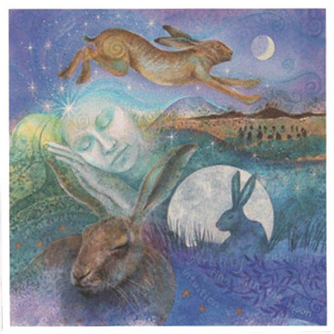 PAGAN WICCAN GREETING CARD Hare Dreaming WENDY ANDREW CELTIC GODDESS
