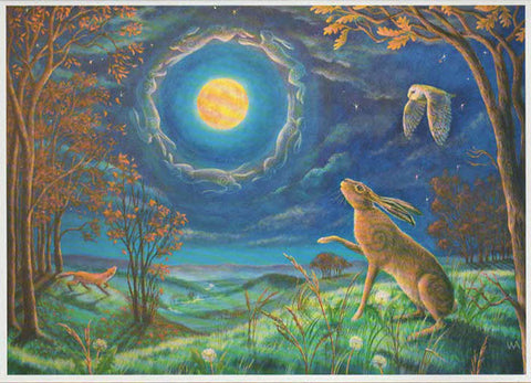 Pagan wiccan greeting cards solstice equinox birthday yule xmas we pagan wiccan greeting card hare moon halo wendy andrew birthday celtic goddess m4hsunfo
