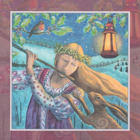 YULE XMAS GREETING CARD Hare Tune PAGAN SOLSTICE WENDY ANDREW