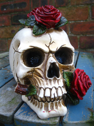 SKULL HEAD FIGURE STATUE Deathly Proposal Ornament GOTHIC HORROR OCCULT