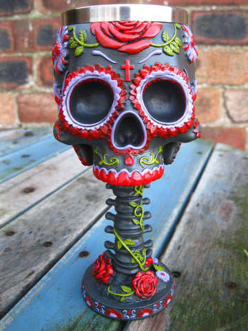 SUGAR BLOOMS DAY OF THE DEAD SKULL GOBLET