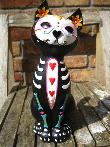 MEXICAN DAY OF THE DEAD SUGAR SKULL CAT FIGURE Ornament