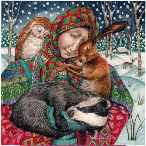YULE XMAS GREETING CARD Arms of Grace PAGAN SOLSTICE Hare WENDY ANDREW
