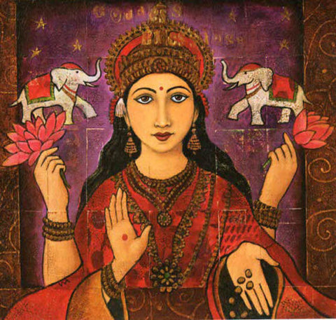 PAGAN WICCAN GREETING CARD Lakshmi WENDY ANDREW HINDU GODDESS