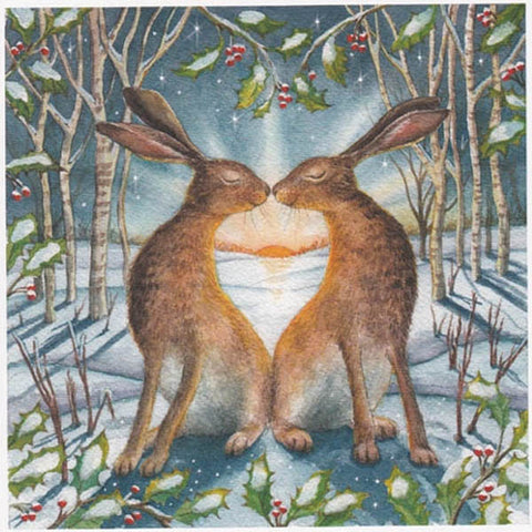 YULE XMAS GREETING CARD Loving Yule Dawn SOLSTICE Hare WENDY ANDREW