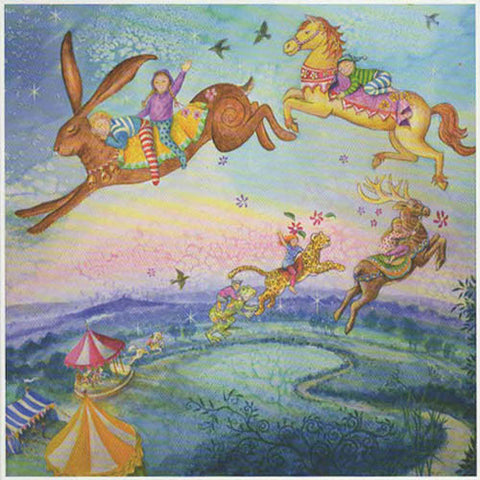 PAGAN WICCAN GREETING CARD Magical Carousel WENDY ANDREW Hare GODDESS