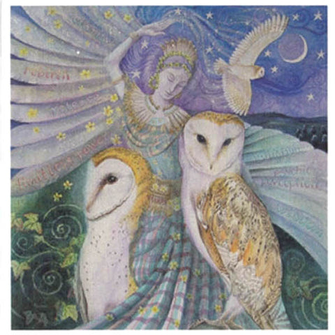 PAGAN WICCAN GREETING CARD Owl Dancing WENDY ANDREW CELTIC GODDESS