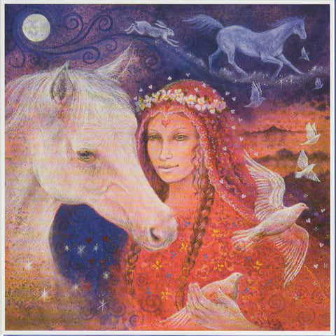 PAGAN WICCAN GREETING CARD Rhiannon WENDY ANDREW Horse GODDESS