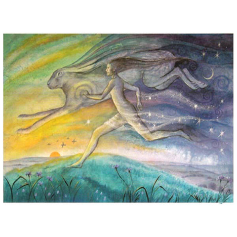 PAGAN WICCAN GREETING CARD Run Like a Hare WENDY ANDREW Birthday CELTIC GODDESS