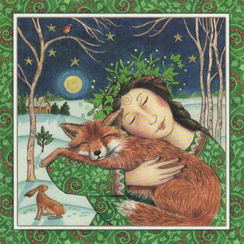 YULE XMAS GREETING CARD Starry Fox Hug PAGAN SOLSTICE WENDY ANDREW