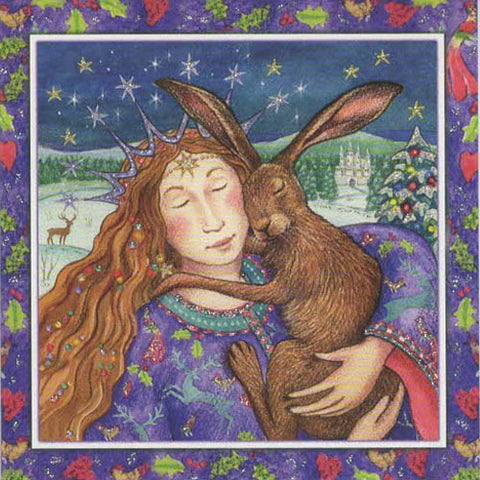 YULE XMAS GREETING CARD Starry Hare Hug PAGAN SOLSTICE WENDY ANDREW