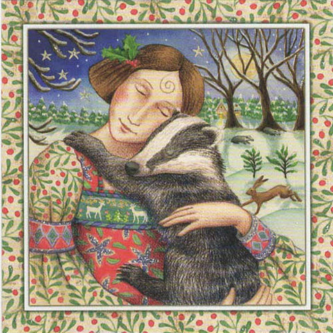 YULE XMAS GREETING CARD Starry Badger Hug PAGAN SOLSTICE WENDY ANDREW