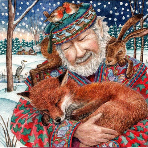 YULE XMAS GREETING CARD Storyteller PAGAN SOLSTICE fox WENDY ANDREW