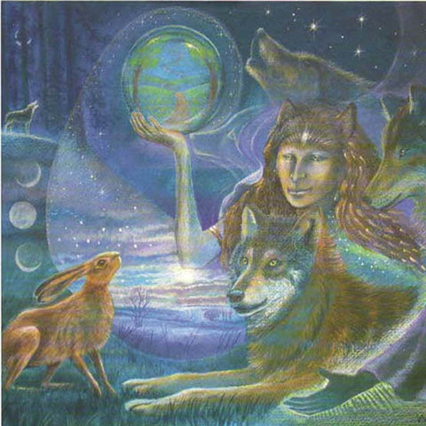 PAGAN WICCAN GREETING CARD Wolf Woman WENDY ANDREW Celtic GODDESS