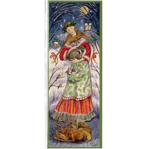 YULE XMAS GREETING CARD Guardian Maiden PAGAN SOLSTICE WENDY ANDREW