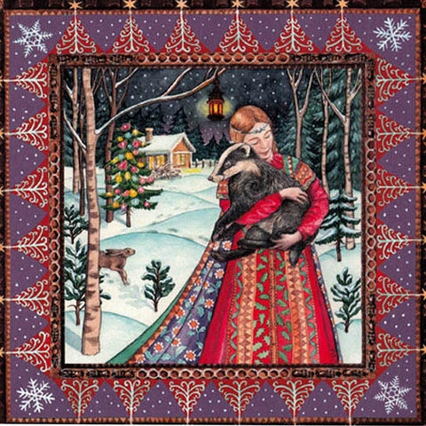 YULE XMAS GREETING CARD Badger Bliss PAGAN SOLSTICE WENDY ANDREW