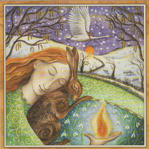 PAGAN WICCAN GREETING CARD Dreaming of Spring WENDY ANDREW Hare GODDESS