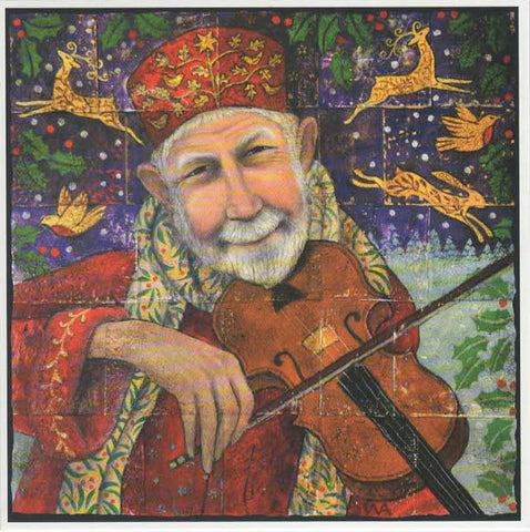 YULE XMAS GREETING CARD Festive Fiddling PAGAN SOLSTICE WENDY ANDREW