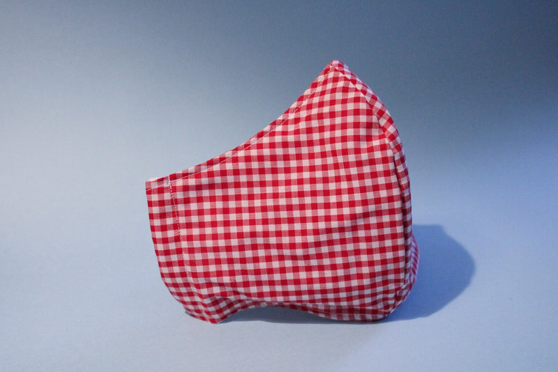 Red Gingham Fabric Mask
