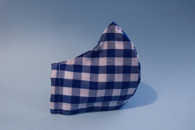 Blue Gingham Fabric Mask