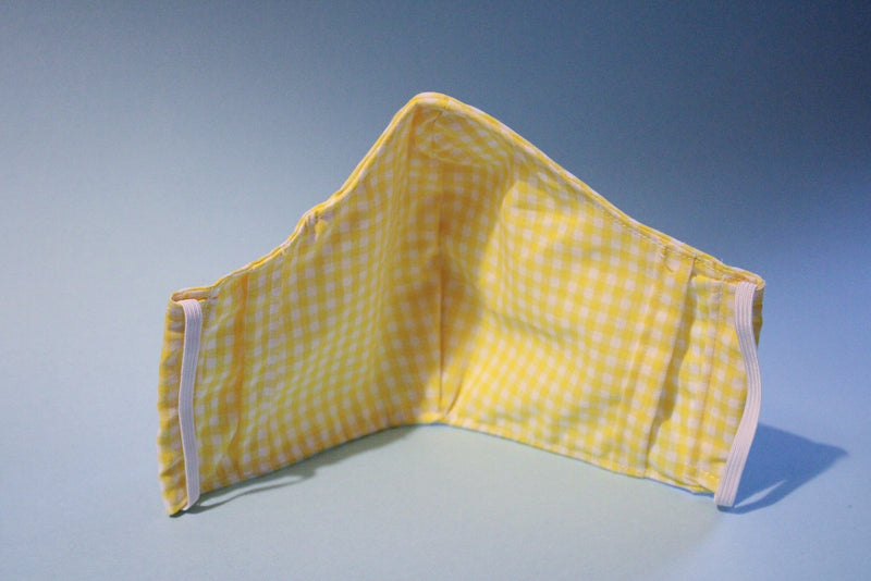 Yellow Gingham Fabric Mask
