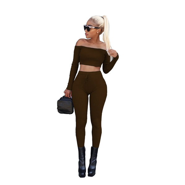 High Stretch Ribbed Women Two Piece Set