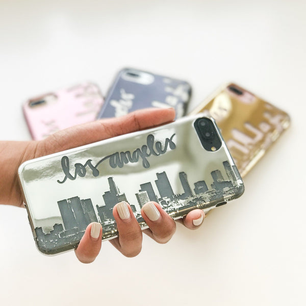 Chrome Shiny iPhone Case Cover - LA Skyline