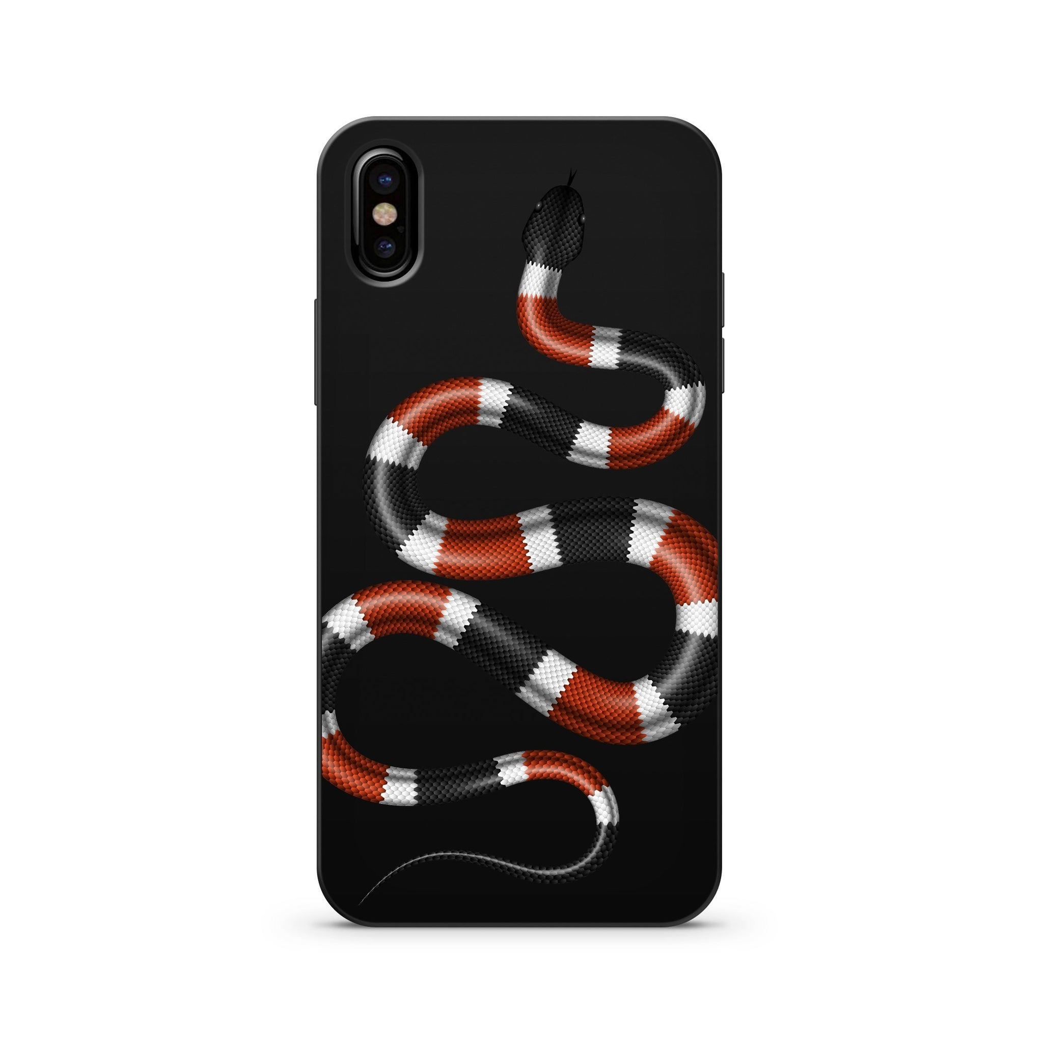 Black Wood Printed iPhone X Case - Coral Snake