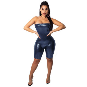 Maria Bling Bling Sequins Strapless Bandage Jumpsuit