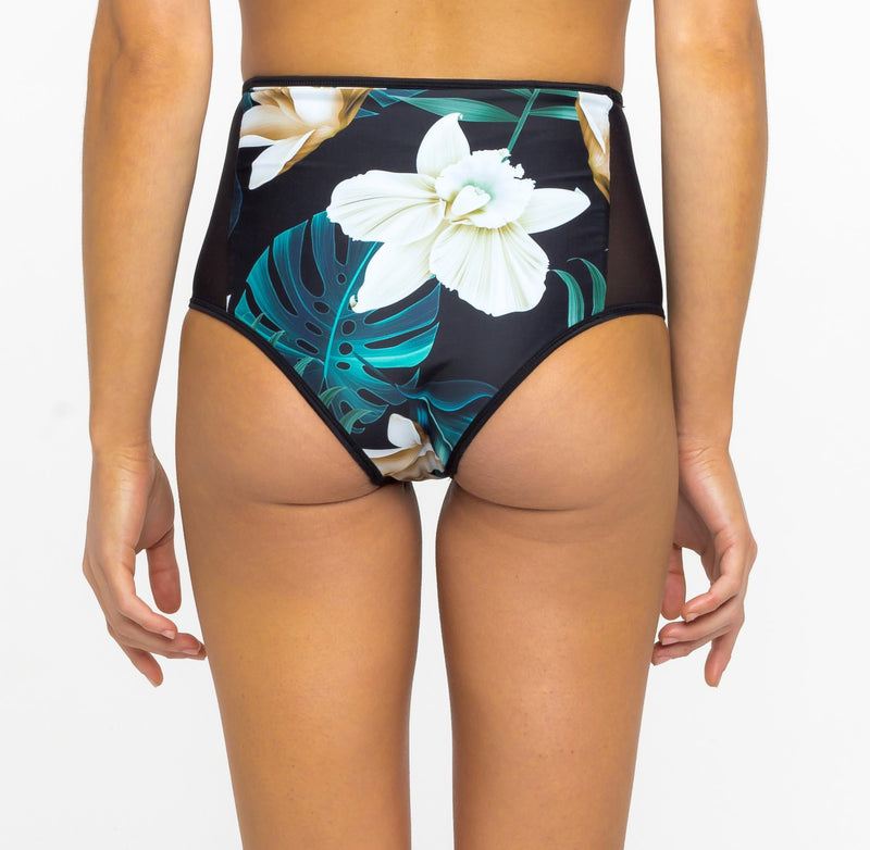 Haleiwa High Waisted Bottoms in Jungle/Black