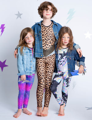 Kids party festival outfits for girls and boys. Leopard print catsuit all in one