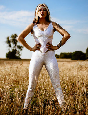 White holographic reflective catsuit