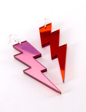 Pink and Orange Lightning Bolt Perspex Mirrored Earrings