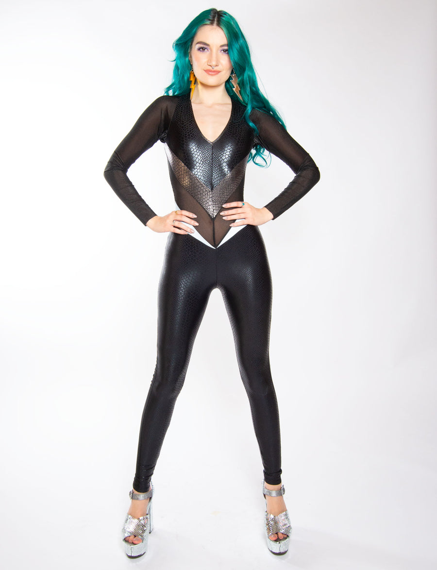 Burnt Soul Backless Long Sleeve Siren Catsuit in black and Silver Snake printed lycra for Festivals