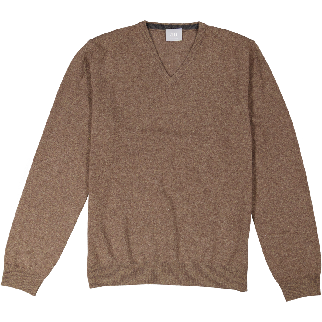 BROWN V-NECK CASHMERE SWEATER