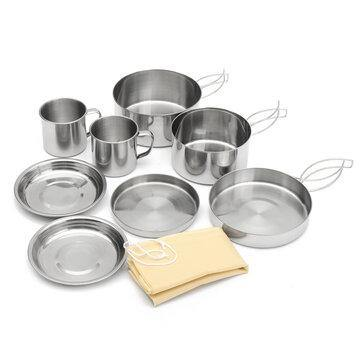 9 Pcs Stainless Steel Camping Cookware Set