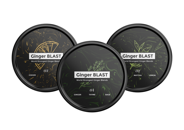 Ultimate Ginger Blast Pack - Combo of Lemon - Matcha - Sage/Thyme - 3 x 45gr