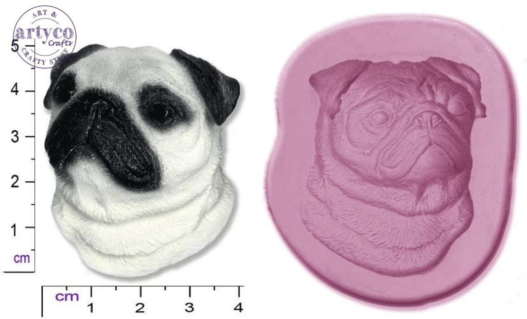 Dog Head; Pug Silicone Mold