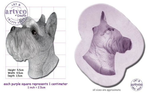 Dog Head; Schnauzer Silicone Mold