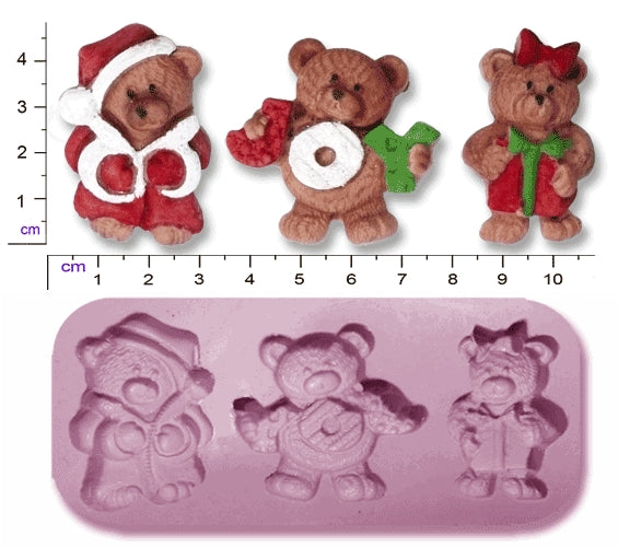Christmas Teddy Bears x 3
