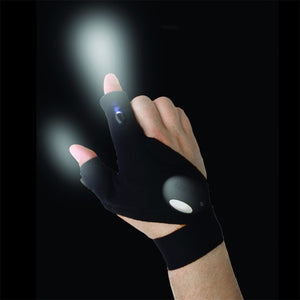 Outdoor Waterproof Night Fishing Glove Magic Strap Finger-less LED Flashlight Torch