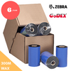 "discountlabels,4.33 ""X 985 'Black Wax Ribbon Zebra (110mm x 300m) Wax Ribbon - Case Of 6"