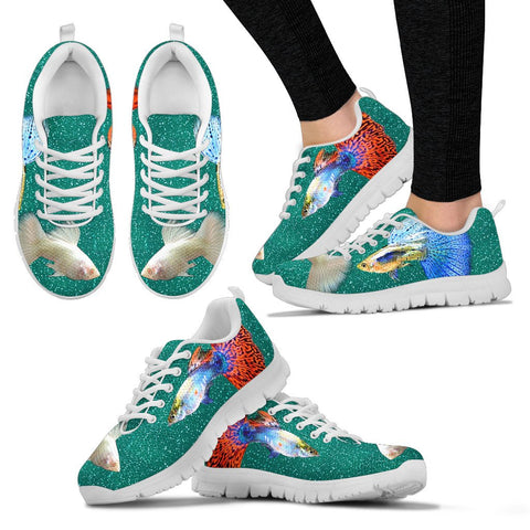 Guppy Fish Print Christmas Running Shoes For Women- Free Shipping